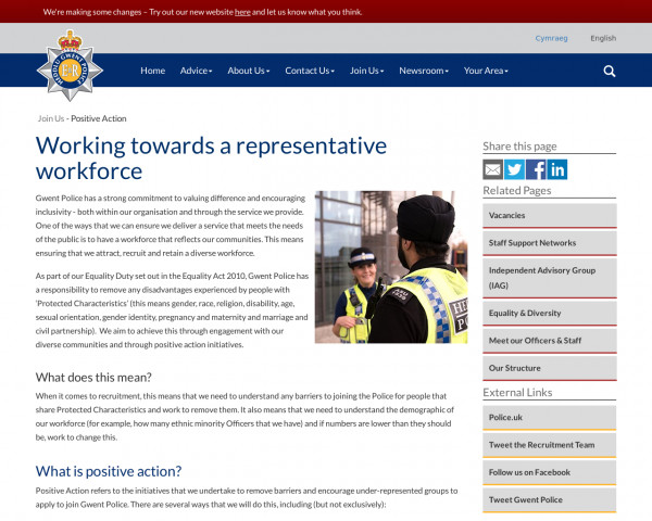 Screenshot of Positive Action | Gwent Police