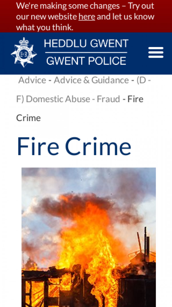 Screenshot of Fire Crime | Gwent Police