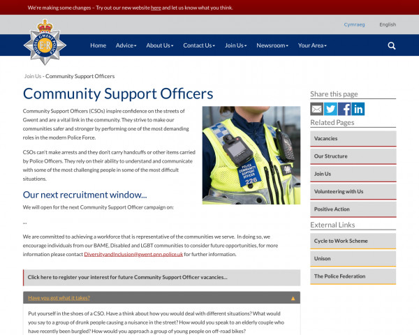 Screenshot of Community Support Officers | Gwent Police