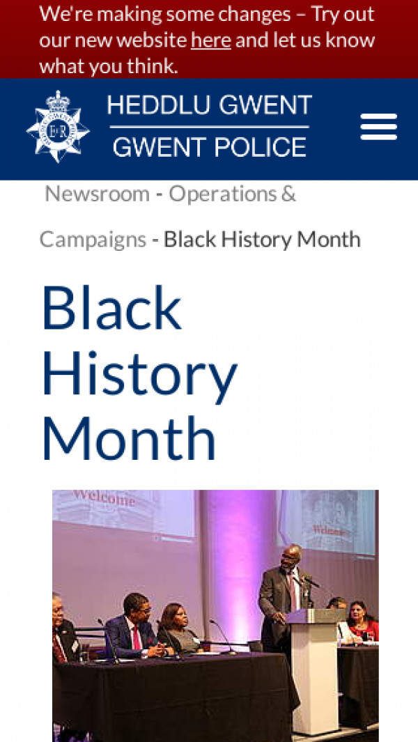 Screenshot of Black History Month | Gwent Police