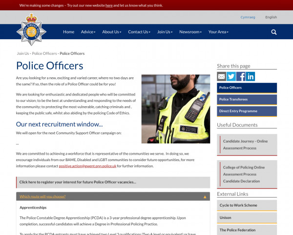 Screenshot of Police Officers | Gwent Police