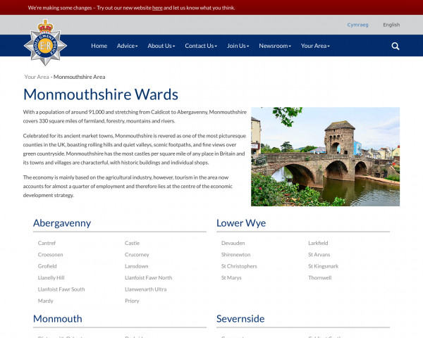 Screenshot of Monmouthshire Area | Gwent Police