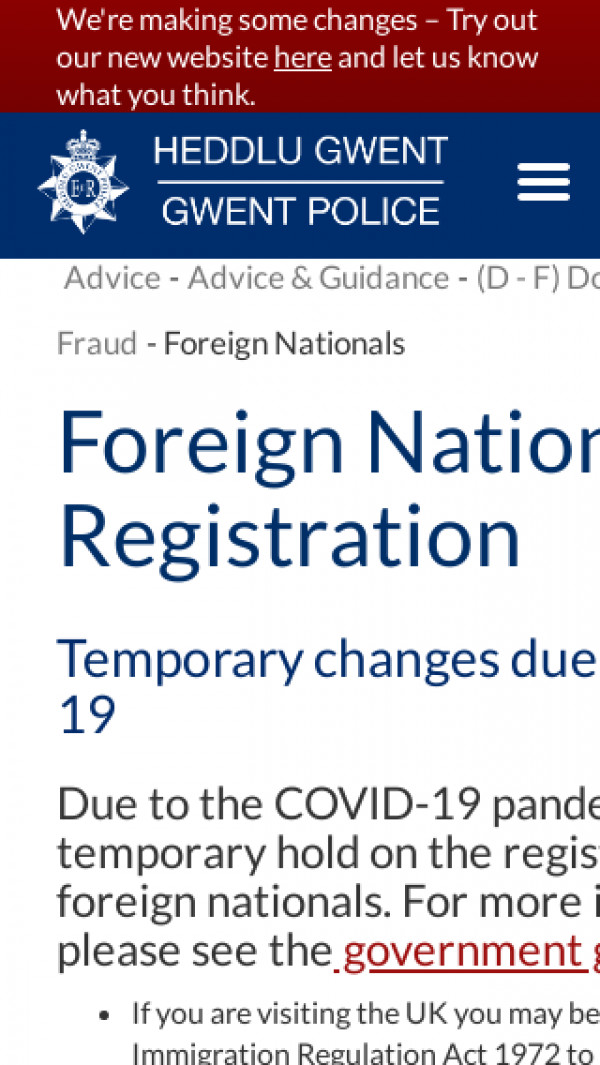 Screenshot of Foreign Nationals | Gwent Police