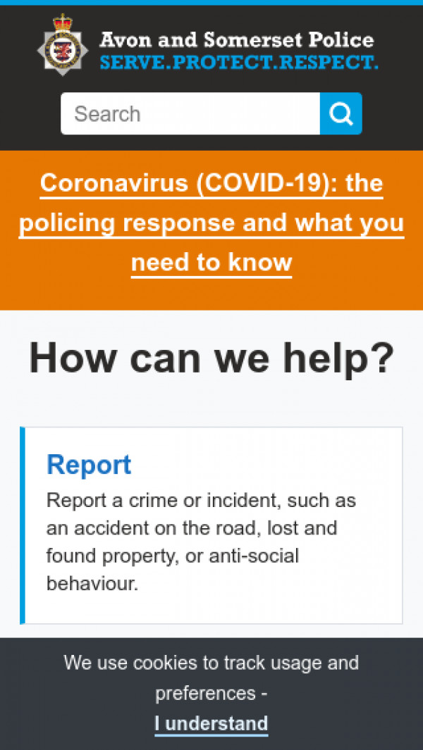 Mobile screenshot of Avon and Somerset Constabulary website