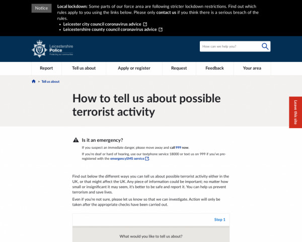 Screenshot of How to tell us about possible terrorist activity | Leicestershire Police