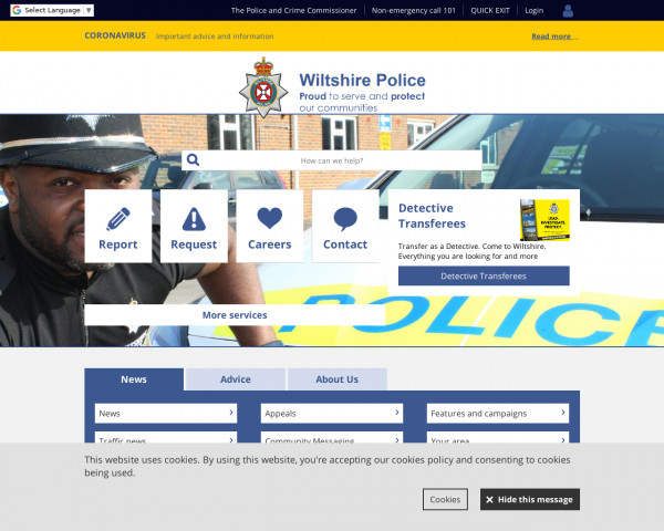 Screenshot of Wiltshire Police - Wiltshire Police