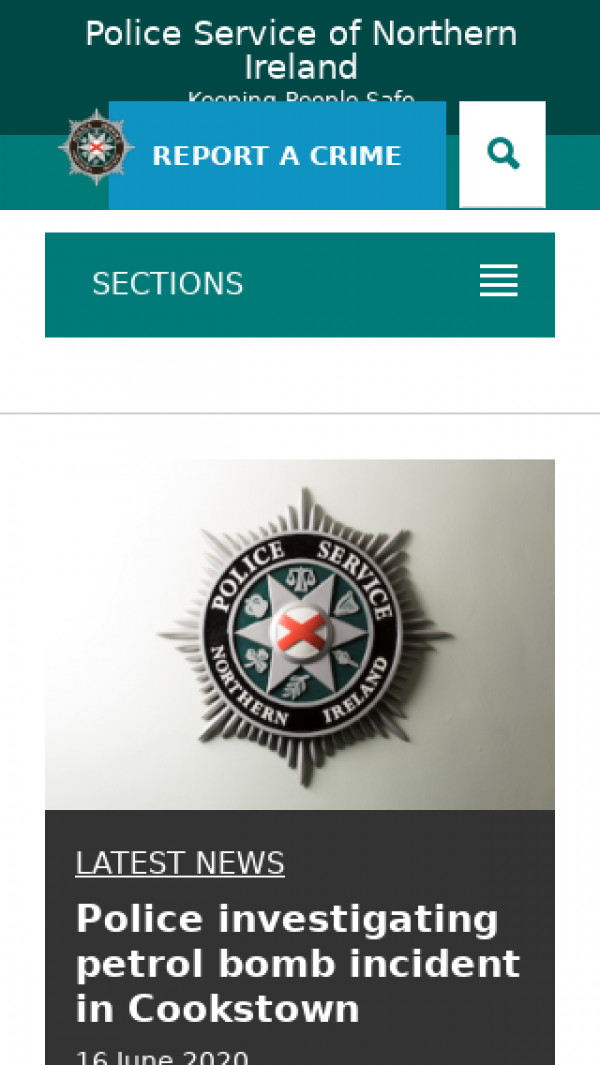 Mobile screenshot of Police Service of Northern Ireland website