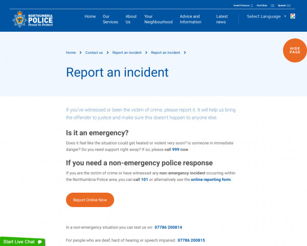 Screenshot of Report an incident : Northumbria Police
