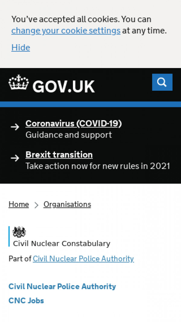 Mobile screenshot of Civil Nuclear Constabulary website
