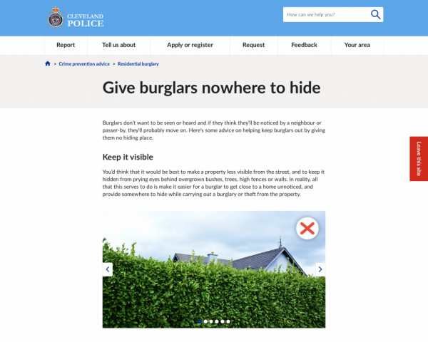 Screenshot of Give burglars nowhere to hide | Cleveland Police