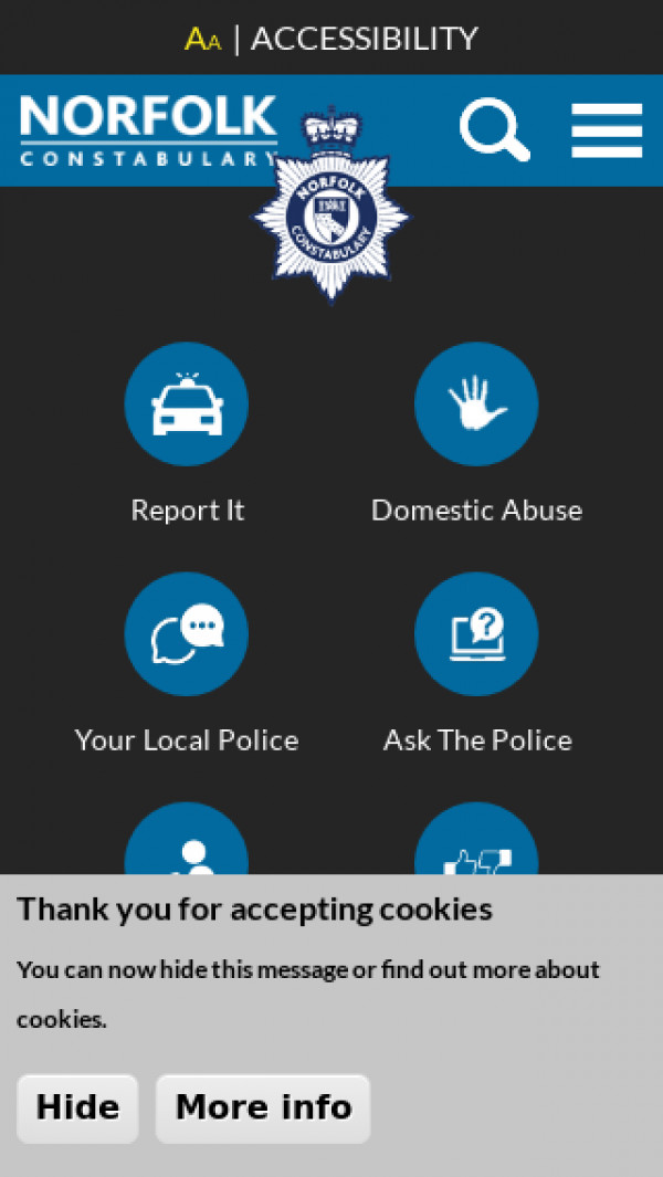 Mobile screenshot of Norfolk Constabulary website