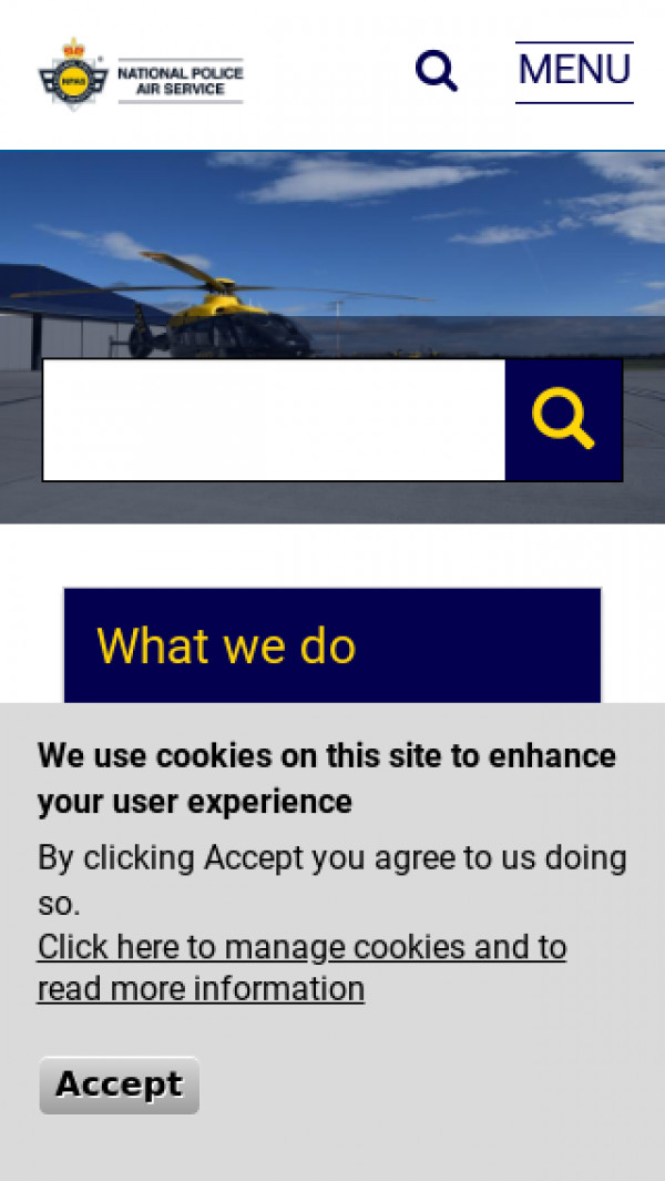Mobile screenshot of National Police Air Service website