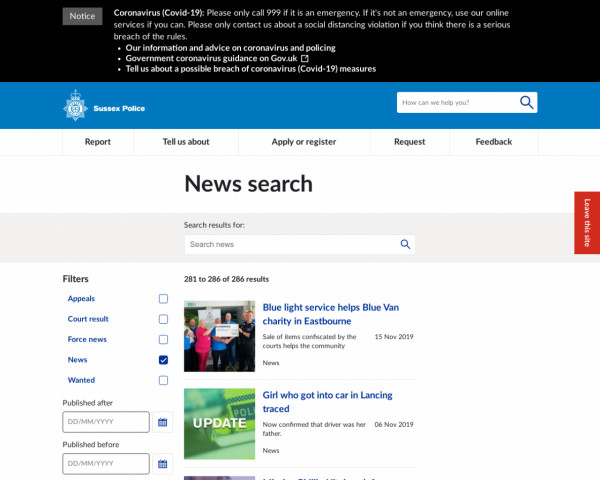 Screenshot of News search   Sussex Police