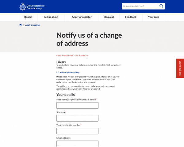 Screenshot of Notify us of a change of address | Gloucestershire Constabulary