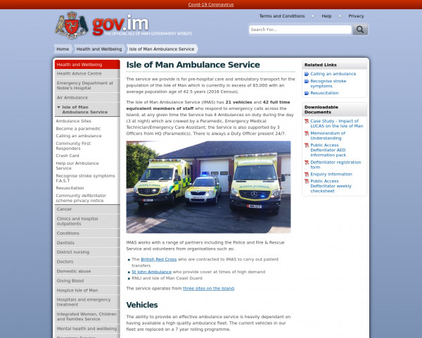 Desktop screenshot of Isle of Man Ambulance Service website