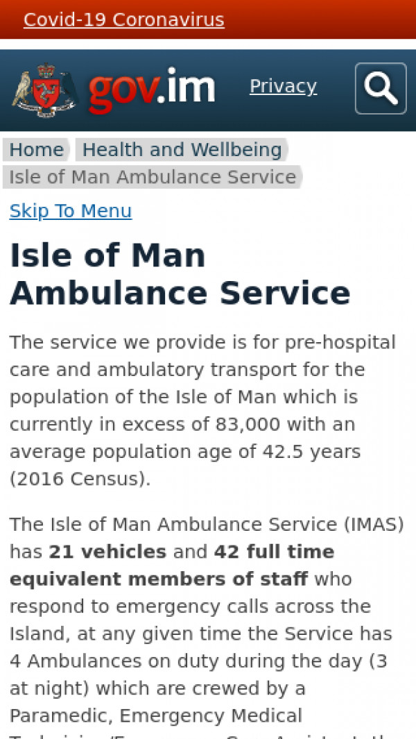 Mobile screenshot of Isle of Man Ambulance Service website
