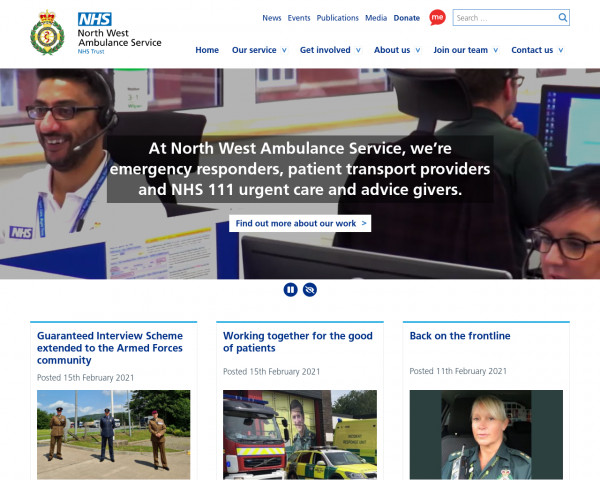 Screenshot of North West Ambulance Service NHS Trust