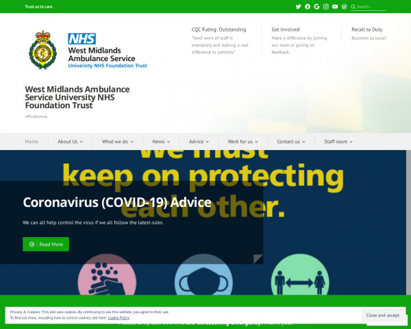Desktop screenshot of West Midlands Ambulance Service NHS Foundation Trust website