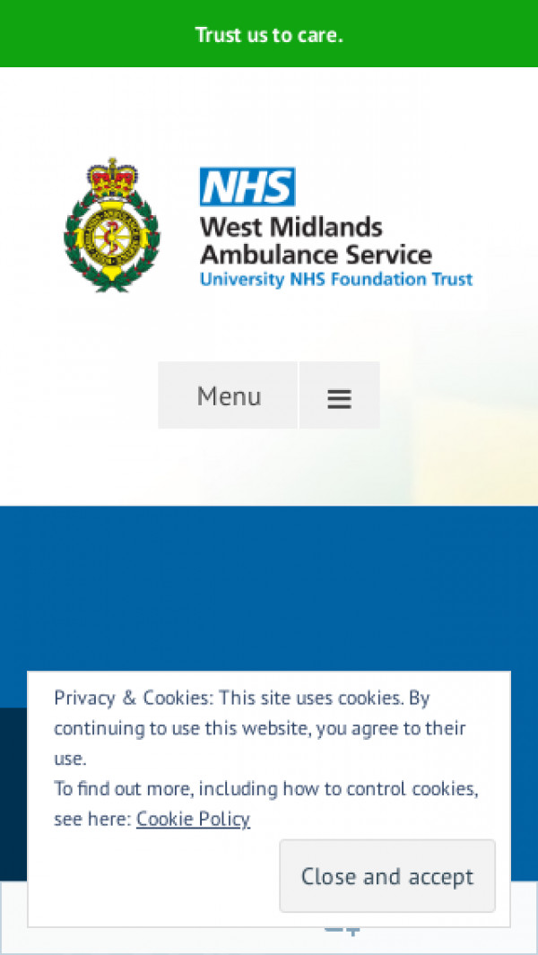 Mobile screenshot of West Midlands Ambulance Service NHS Foundation Trust website