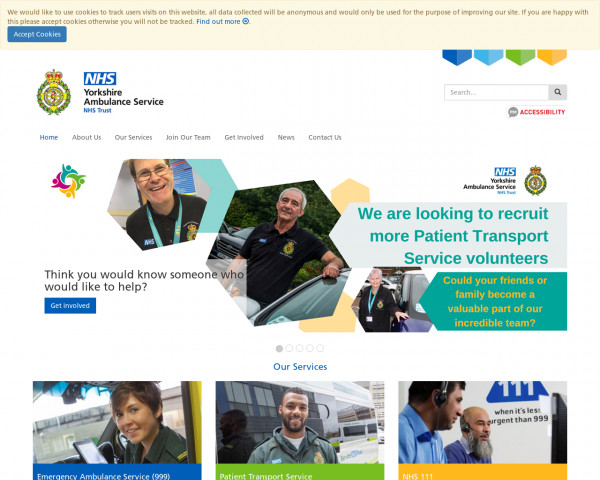 Desktop screenshot of Yorkshire Ambulance Service NHS Trust website