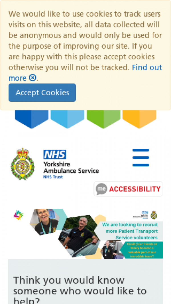 Mobile screenshot of Yorkshire Ambulance Service NHS Trust website