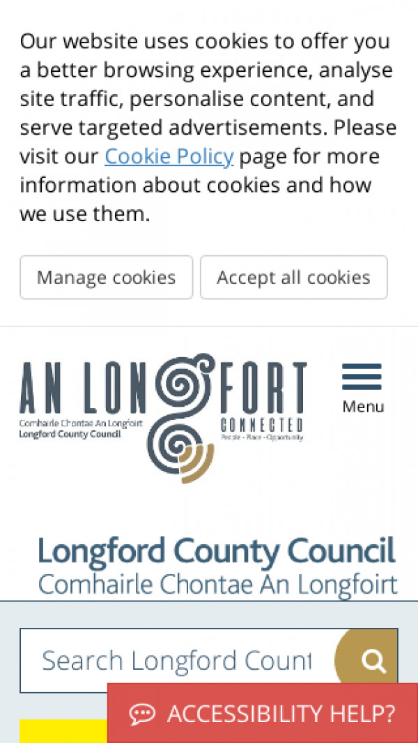Mobile screenshot of Longford County Council website