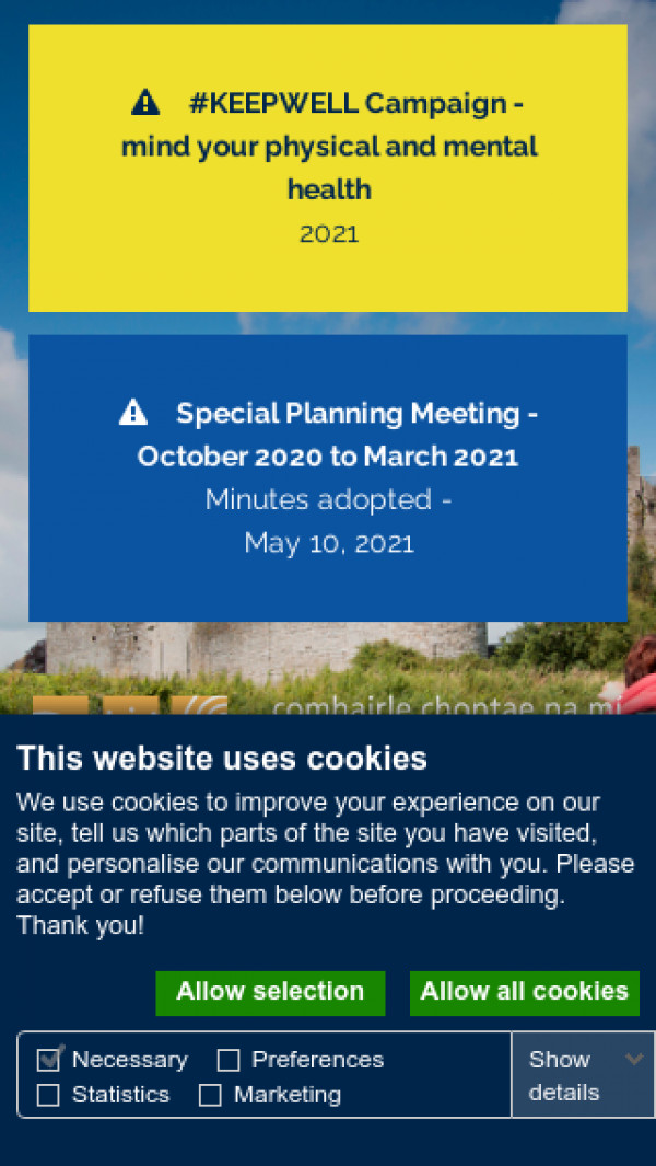 Mobile screenshot of Meath County Council website