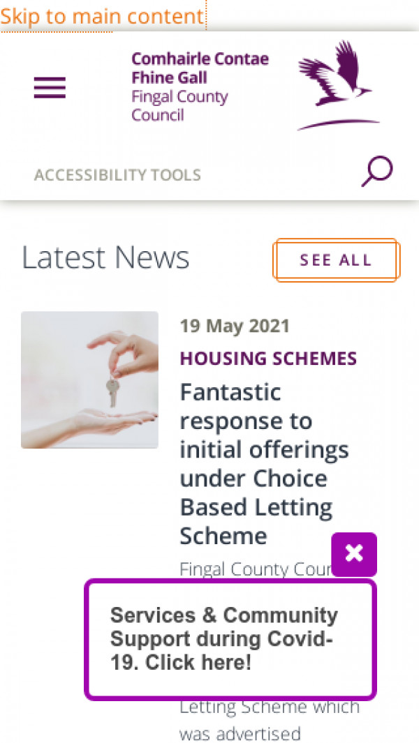 Mobile screenshot of Fingal County Council website