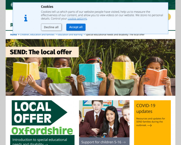 Desktop screenshot of Oxfordshire website