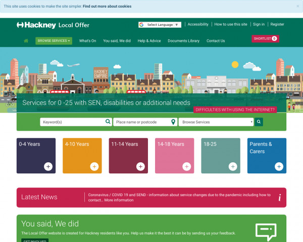 Desktop screenshot of Hackney Local Offer website