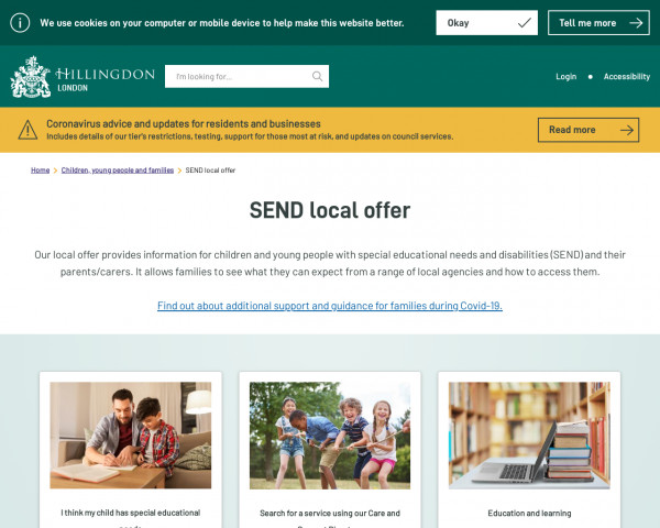 Desktop screenshot of Hillingdon Local Offer website
