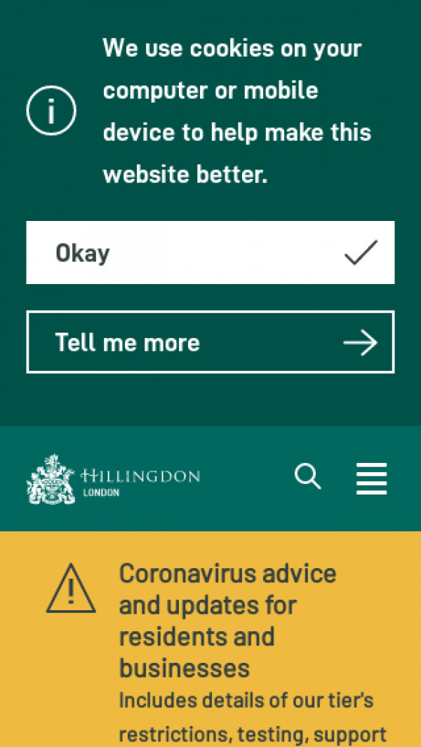 Mobile screenshot of Hillingdon Local Offer website