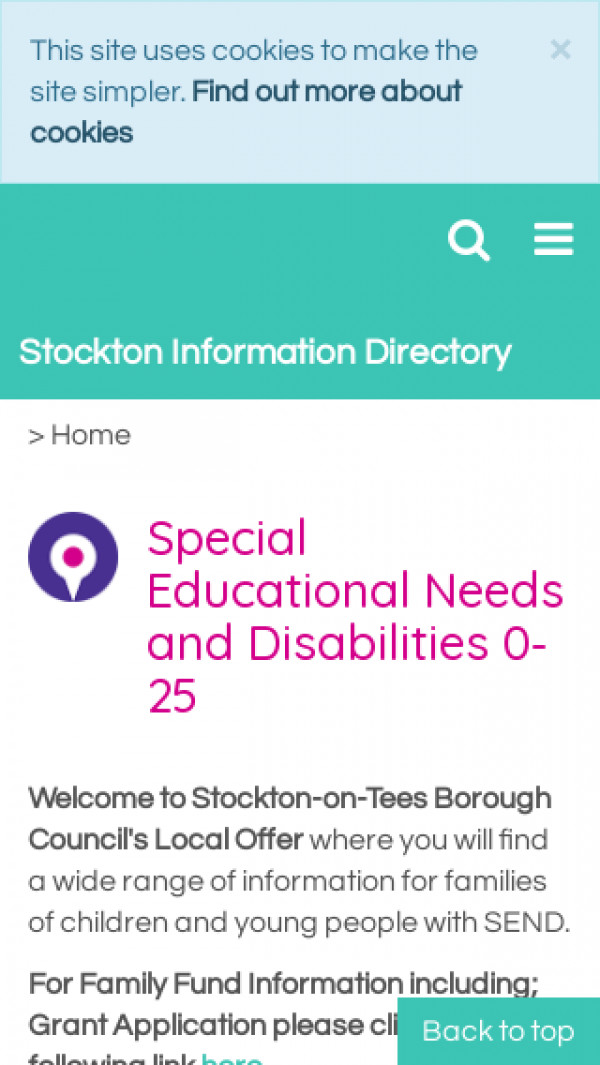 Mobile screenshot of Stockton-on-Tees Local Offer website