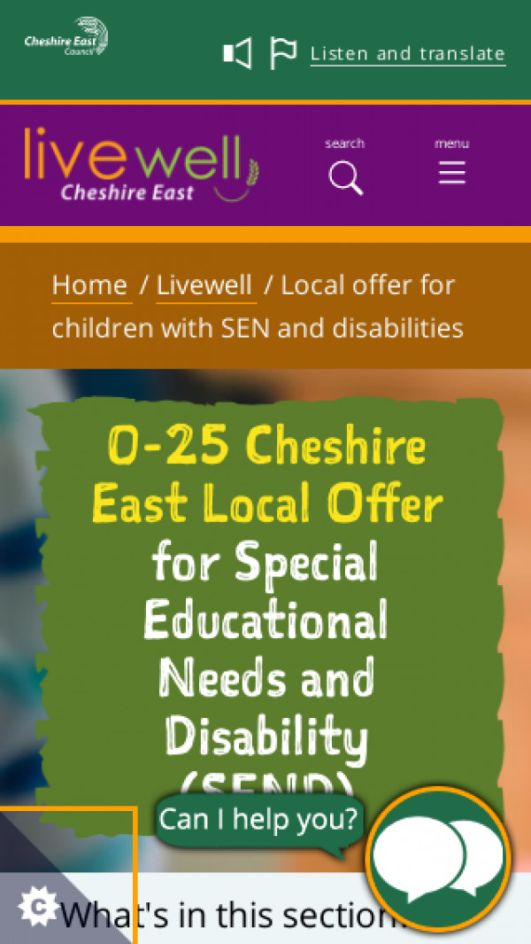 Mobile screenshot of Cheshire East Local Offer website