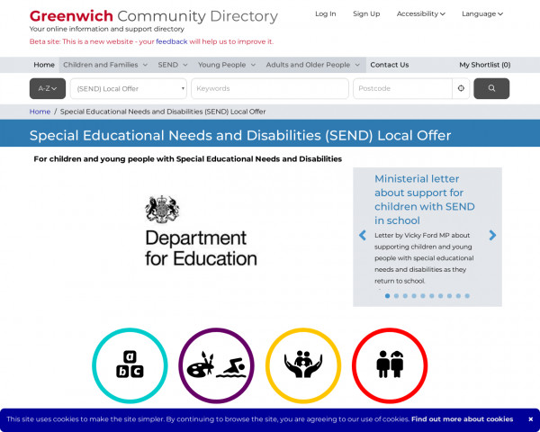Desktop screenshot of Greenwich website