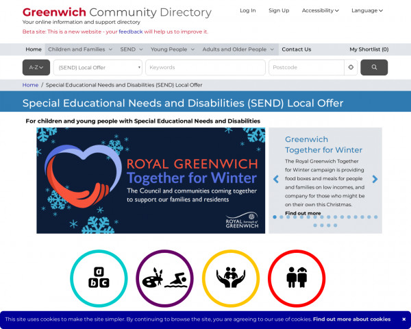 Desktop screenshot of Greenwich Local Offer website