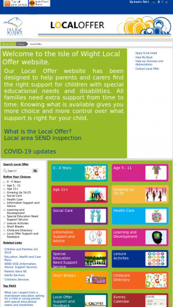 Mobile screenshot of Isle of Wight Local Offer website