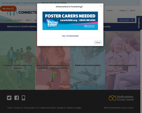 Desktop screenshot of Staffordshire Local Offer website