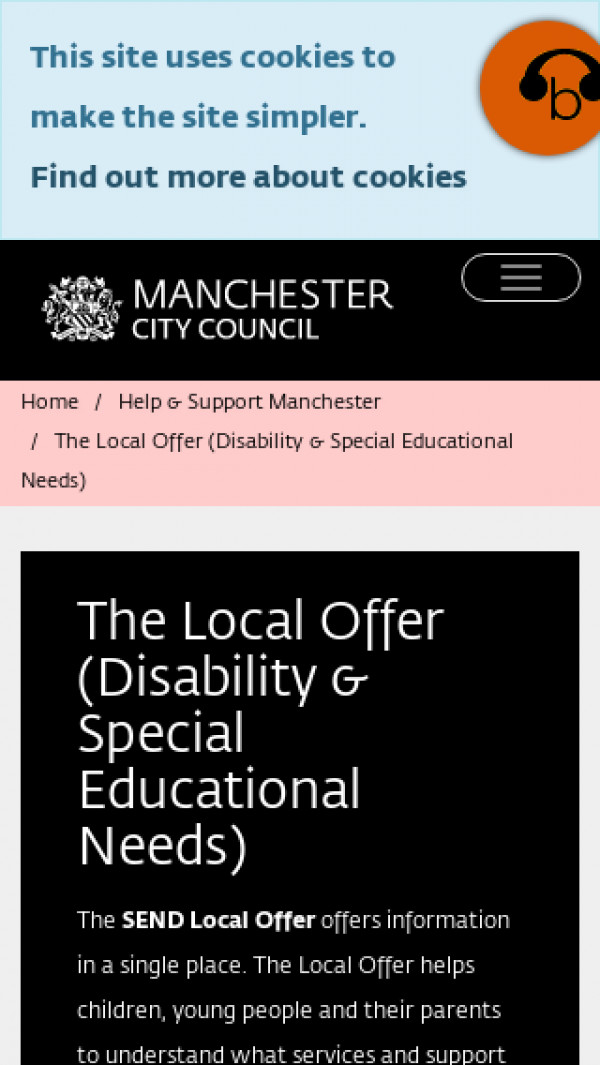 Mobile screenshot of Manchester website