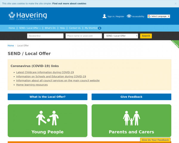 Desktop screenshot of Havering website