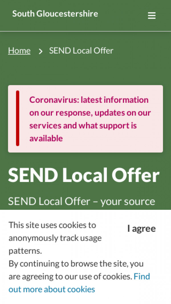 Mobile screenshot of South Gloucestershire website
