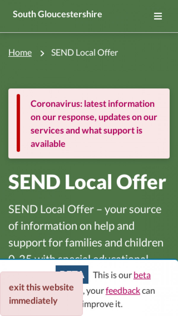 Mobile screenshot of South Gloucestershire Local Offer website