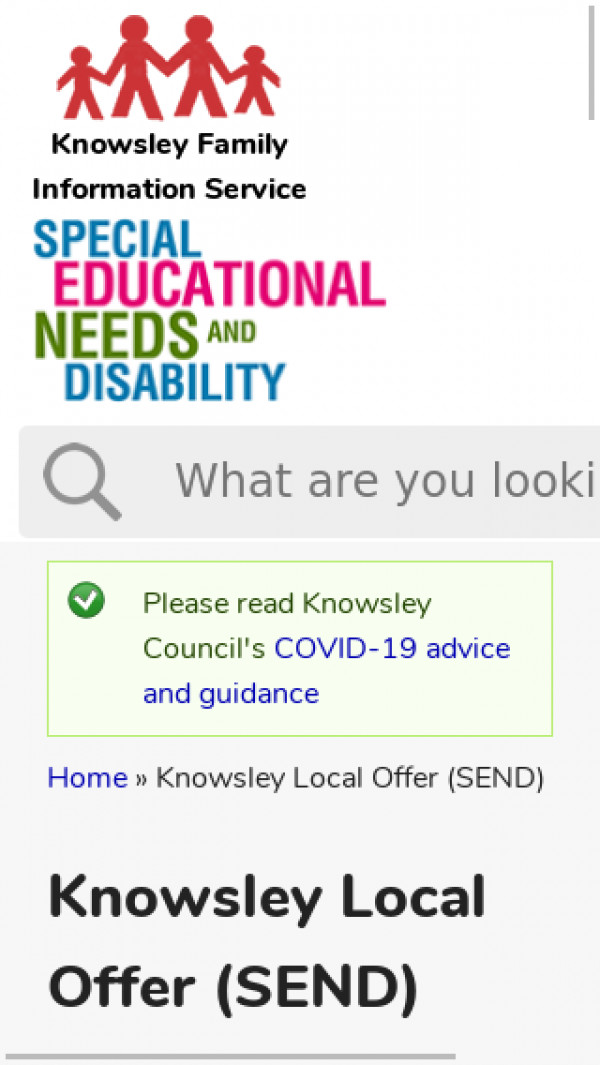 Mobile screenshot of Knowsley Local Offer website