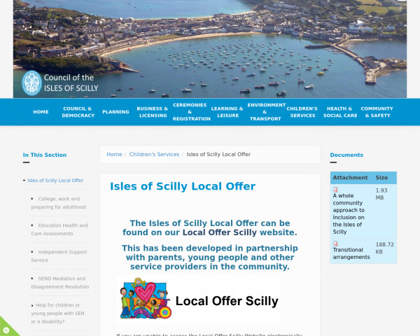 Desktop screenshot of Isles of Scilly Local Offer website