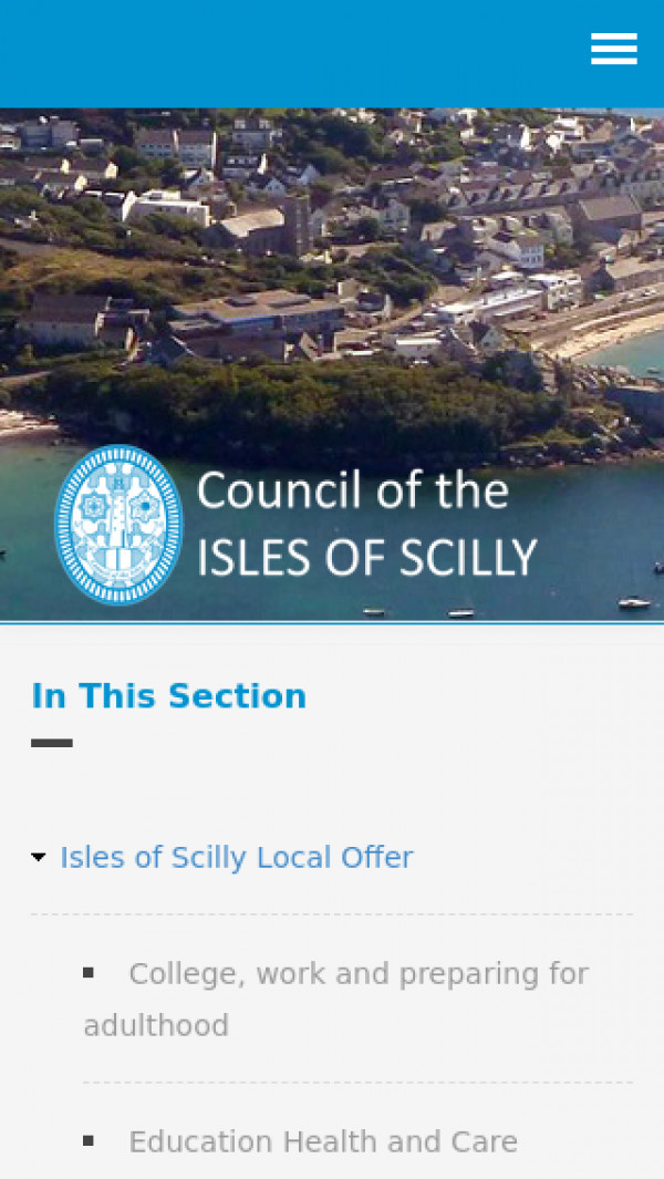 Mobile screenshot of Isles of Scilly Local Offer website