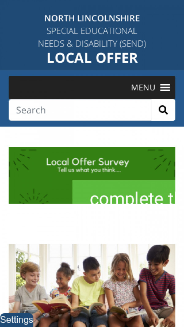 Mobile screenshot of North Lincolnshire Local Offer website