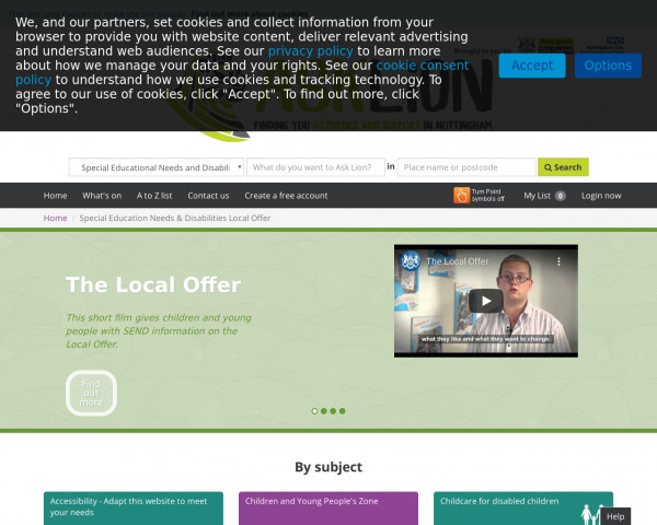 Desktop screenshot of Nottingham Local Offer website