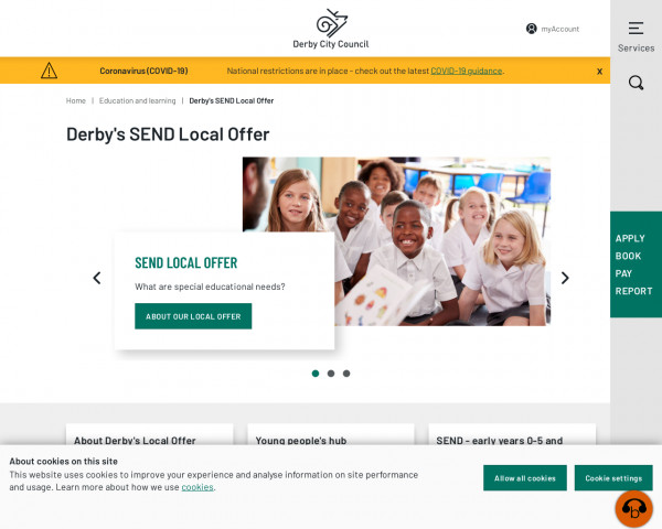 Desktop screenshot of Derby Local Offer website