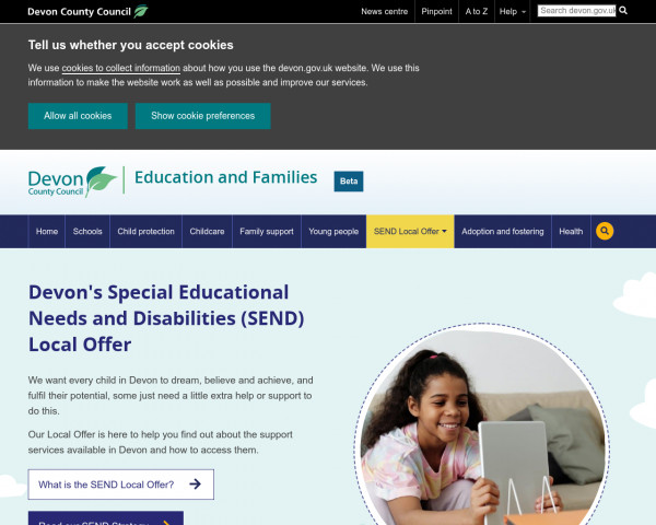 Screenshot of Devon's SEND Local Offer -help and support for children with SEND