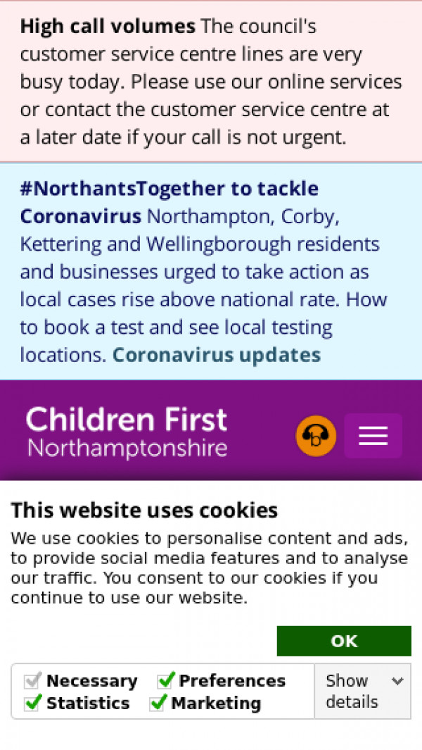 Mobile screenshot of Northamptonshire Local Offer website